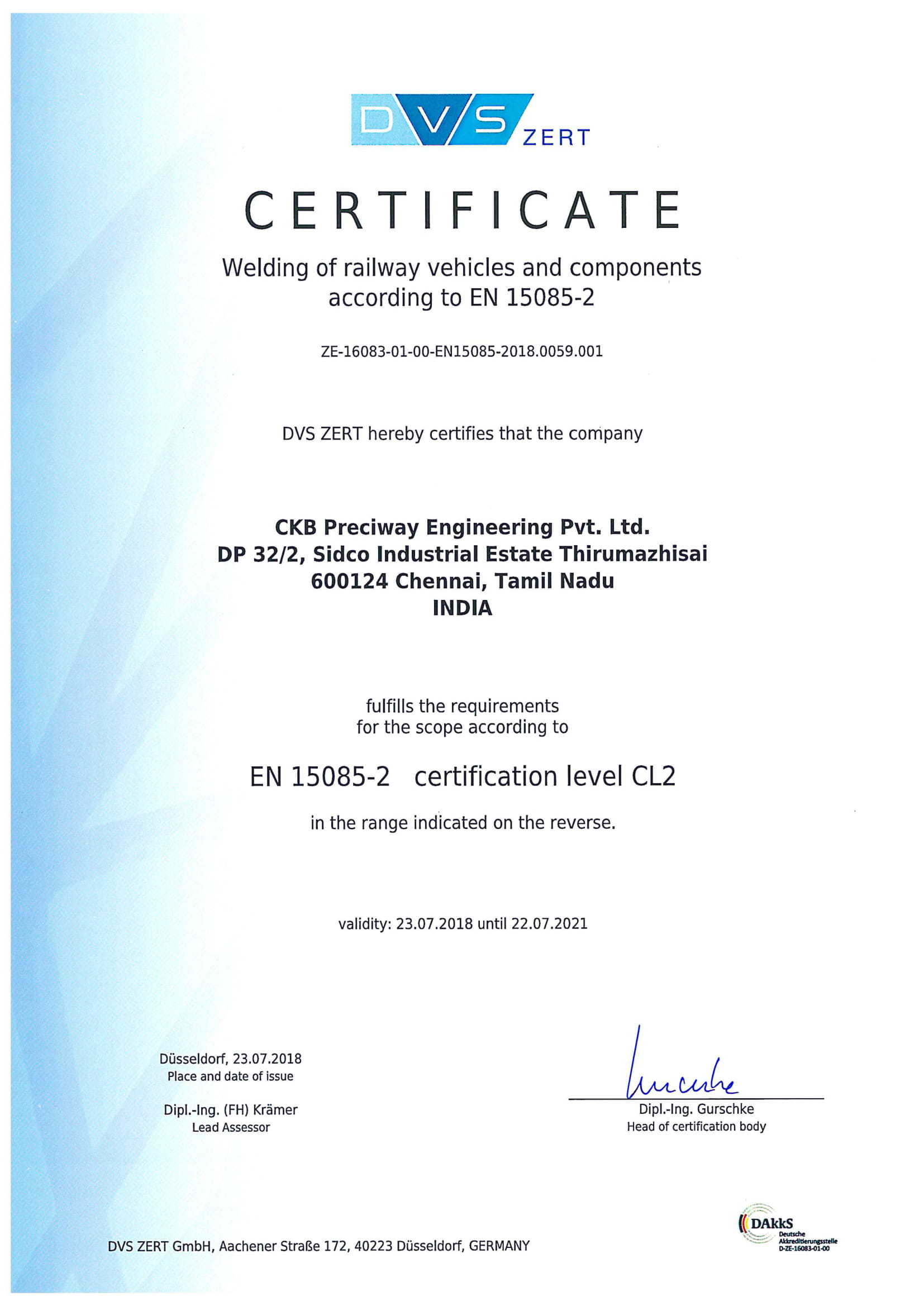 EN 15085-2 CL2 Certification In Process